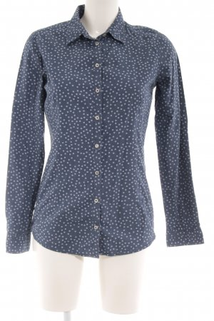 Emily van den Bergh Langarmhemd stahlblau-graublau Punktemuster Casual-Look