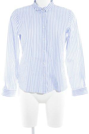 Emily van den Bergh Langarmhemd stahlblau-weiß Streifenmuster Business-Look
