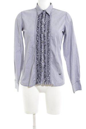Emily van den Bergh Rüschen-Bluse blau Streifenmuster Business-Look