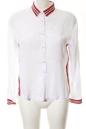 Emily van den Bergh Slip-over blouse wit-rood gestreept patroon zakelijke stijl