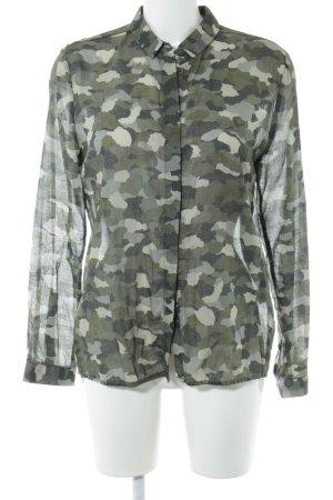 Emily van den Bergh Transparenz-Bluse khaki Camouflagemuster Casual-Look