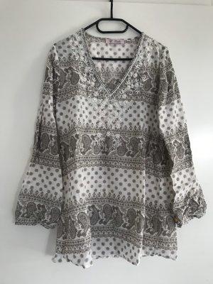 Emily van den Bergh Blusa de túnica blanco-marrón grisáceo