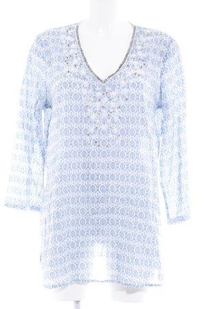 Emily van den Bergh Tunikabluse himmelblau-weiß Aztekenmuster Casual-Look