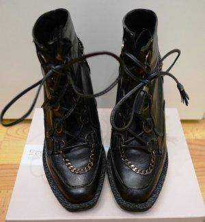 Emma Cook for Topshop Runway Ankle Boots Gr. 39 Echtleder schwarz Punk Blogger