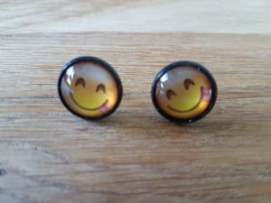 Ear stud black-yellow glas