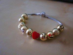 Emoticon Trend Armband m. 10 verg. Beads + Schmuckschachtel neu