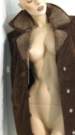 Leather Vest brown-camel suede