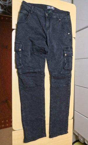 Pantalon cargo noir-gris anthracite coton