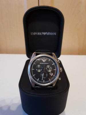 Emporio Armani Watch With Leather Strap black-silver-colored
