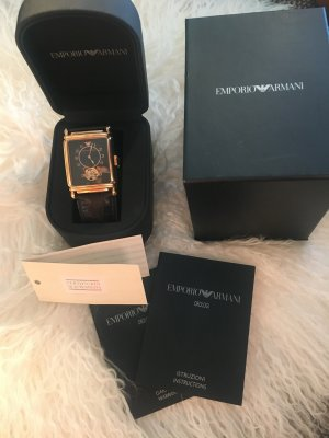 Emporio Armani Watch With Leather Strap black-gold-colored