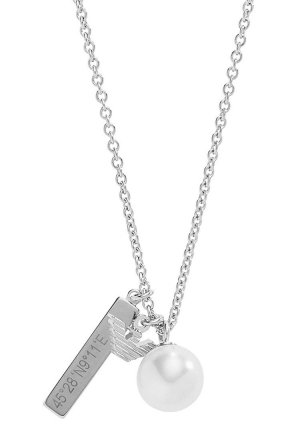 Armani Necklace silver-colored-white real silver