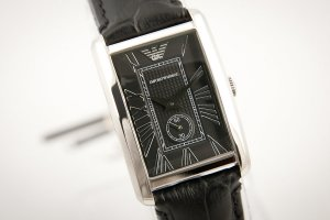 Armani Watch black leather