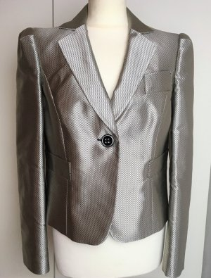 * EMPORIO ARMANI *  eleganter KURZ BLAZER SMOKING silber VICHY silber grau schwarz Gr 40 L