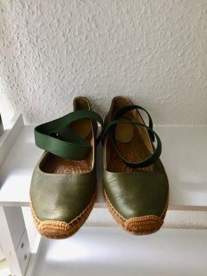 Emporio Armani Ballerina verde oliva-color cammello Pelle