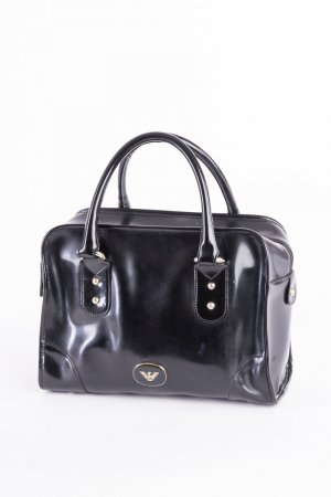 Emporio Armani Bowling Bag black-silver-colored leather
