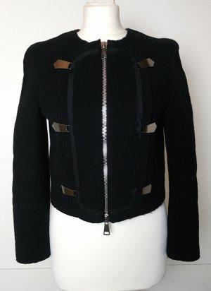 * EMPORIO ARMANI * Kurze Jacke Blazer Military Stil Wolle schwarz Reißverschluss Zierverschlüsse