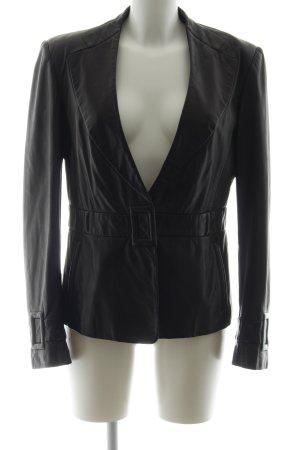 Emporio Armani Leather Blazer black biker look