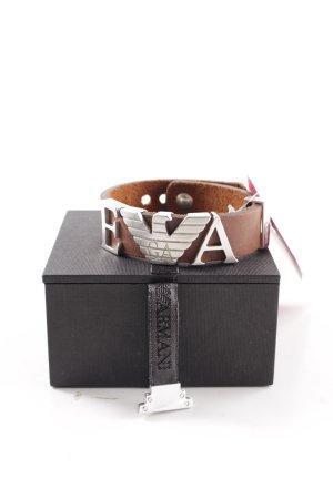 Emporio Armani Bracelet en cuir brun-argenté style décontracté