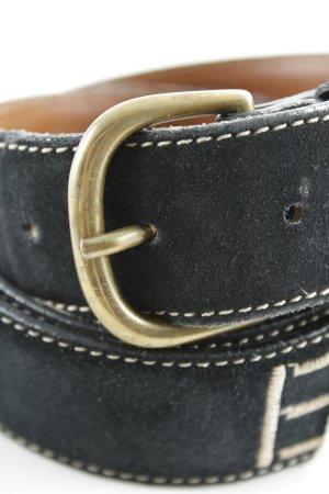 Emporio Armani Ledergürtel dunkelblau Schriftzug gestickt Casual-Look