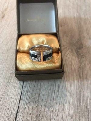 Armani Zilveren ring zwart-zilver Edelstaal