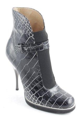 Emporio Armani Schlüpf-Stiefeletten schwarz-weiß Animalmuster