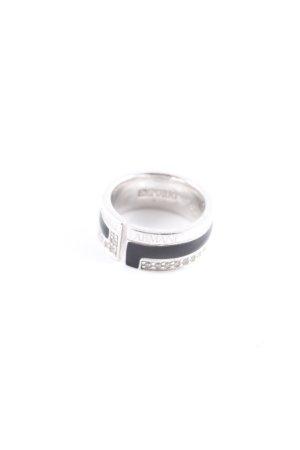 Emporio Armani Silberring silberfarben-schwarz Elegant