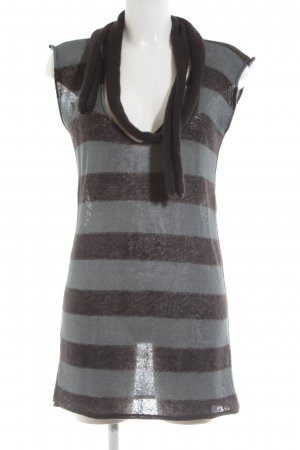 Emporio Armani Knitted Top brown-light grey striped pattern simple style