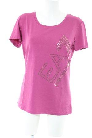 Emporio Armani T-Shirt pink-goldfarben Schriftzug gedruckt Casual-Look