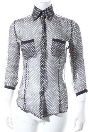 Emporio Armani Transparenz-Bluse schwarz-wollweiß Casual-Look