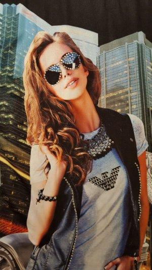 Armani Camiseta negro-azul neón Algodón