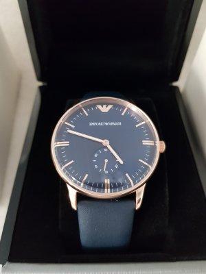 Emporio Armani Horloge met lederen riempje roségoud-donkerblauw Edelstaal