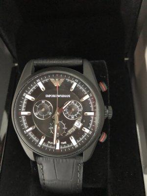 Emporio Armani Reloj con pulsera de cuero negro