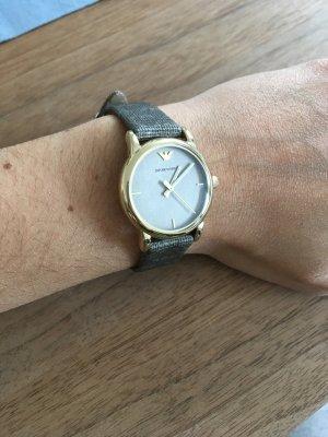 Emporio Armani Orologio con cinturino di pelle grigio-oro Pelle
