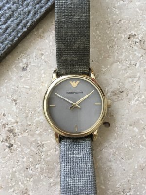 Emporio Armani Watch With Leather Strap grey-gold-colored leather