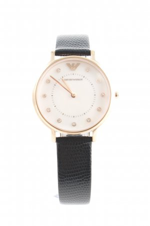 "Emporio Armani Watch With Leather Strap ""AR80011 Leather Perlmutt Set Gold"""