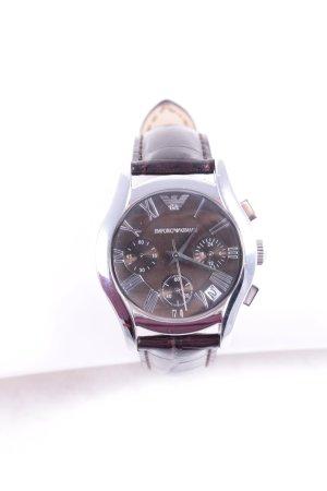 Emporio Armani Uhr mit Lederarmband braunrot-silberfarben klassischer Stil