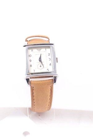 Emporio Armani Uhr mit Lederarmband hellbraun klassischer Stil