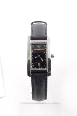 Emporio Armani Orologio con cinturino di pelle argento-nero stile semplice