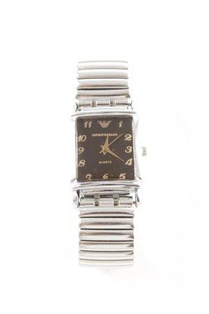 Emporio Armani Montre avec bracelet métallique argenté-noir style d'affaires