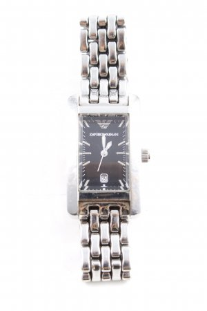 Emporio Armani Uhr mit Metallband silberfarben-schwarz Casual-Look