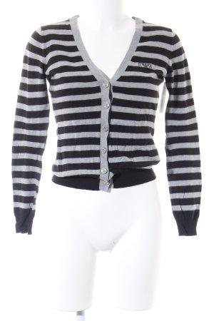 Emporio Armani V-Ausschnitt-Pullover schwarz-hellgrau Streifenmuster