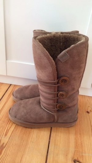 EMU Boots Lammfell gefüttert Winter warm dick Leder mushroom braun 38 fast neu