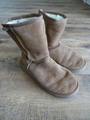 Emu Fur Boots brown-cognac-coloured wool