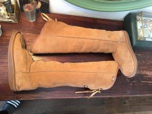 Emu boots Stiefel schuhe ugg like gefüttert warm beige winterschuhe braun Winter Skiurlaub overknee Schleife leder