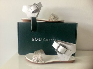EMU Damen Leder-Sandalen in Weiß / Silber Gr.38