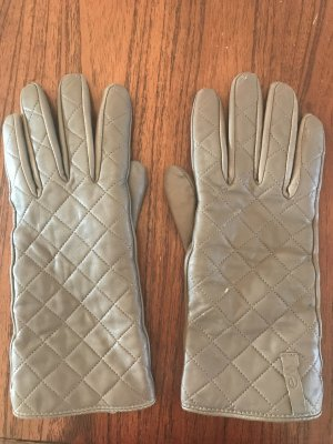 Emu Leather Gloves grey brown