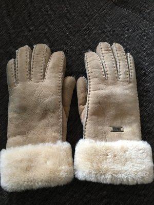 Emu Fur Gloves sand brown