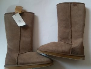 Emu Fur Boots grey brown-light brown leather