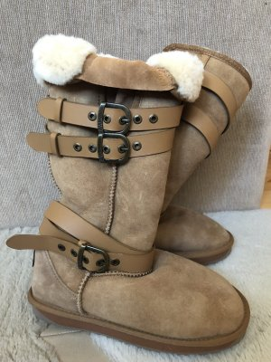 Emu Fur Boots beige-light brown suede