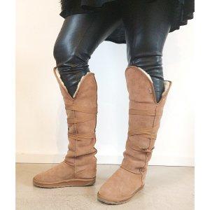 EMU Winter Boots beige 38 Leder Schafsfell Overknies Stiefel
